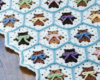 Vintage Crochet Pattern Baby Bear and Bows  Afghan Cot Pram Blanket Throw Hexagon