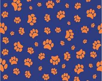 Navy with orange paw prints craft  vinyl sheet - HTV or Adhesive Vinyl -   pattern HTV609