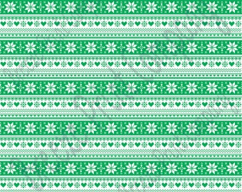 Green and white Christmas pattern craft  vinyl sheet - HTV or Adhesive Vinyl -  Nordic knitted sweater pattern HTV3608
