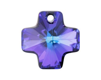 SWAROVSKI® Crystal Cross Article# 6866 20mm Faceted Cross Pendants,  HELIOTROPE , Two(2)Crystal Cross Pendants