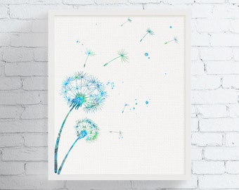 Watercolor Dandelion, Dandelion Art Print, Dandelion Wall Decor, Floral Wall Art, Nature Decor, Flower Print, Beedrom Art, Bathroom Art