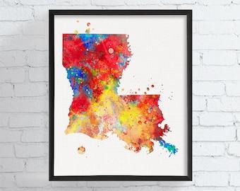Louisiana Map, Louisiana State Art, Watercolor Map, Louisiana Poster, Louisiana Wall Decor, Travel Art, Dorm Decor, Colorful Art, Modern Art
