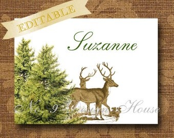 Printable Rustic Tented Editable Place Cards, Rustic Deer Design, Buffet Cards, by No 9