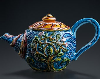 """Ceramic  teapot in blue and yellow """"Blooming tree in the Spring"""""""