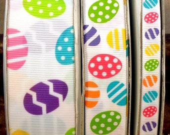 "2 Yards 3/8"", 7/8"" or 1.5"" Bright Easter Egg Print Grosgrain Ribbon - US Designer"