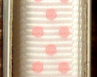 "2 Yards 3/8"" Swiss Dots - White with Pink Swiss Dots Grosgrain Print Ribbon"