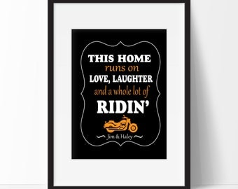 Motorcycle Art Print, Personalized Gift, Gift for the Harley Couple, Gift for the Biker Couple, Wedding Gift, Harley Sign, Romantic Gift