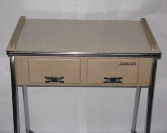 Vintage sterlizer table cart on wheels doctor dentist office formica top
