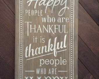 Thankful People Are Happy People, Hand Painted Sign by, IzzyB Vintage Me