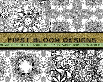 Pack of 8 Pages, Intricate Adult Coloring Page, Printable Coloring Page, Steampunk Coloring Page, Mandala, Damask