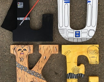 "Hand-painted 9"" tall wood Star Wars letters of your choice"