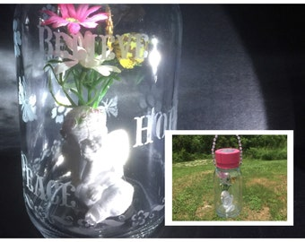 One Of A Kind Solar Mason Jar - Angel Lantern - Garden Decor - Outdoor Lighting - Angel Decor - Solar Light - Upcycled - Recycled - Angel