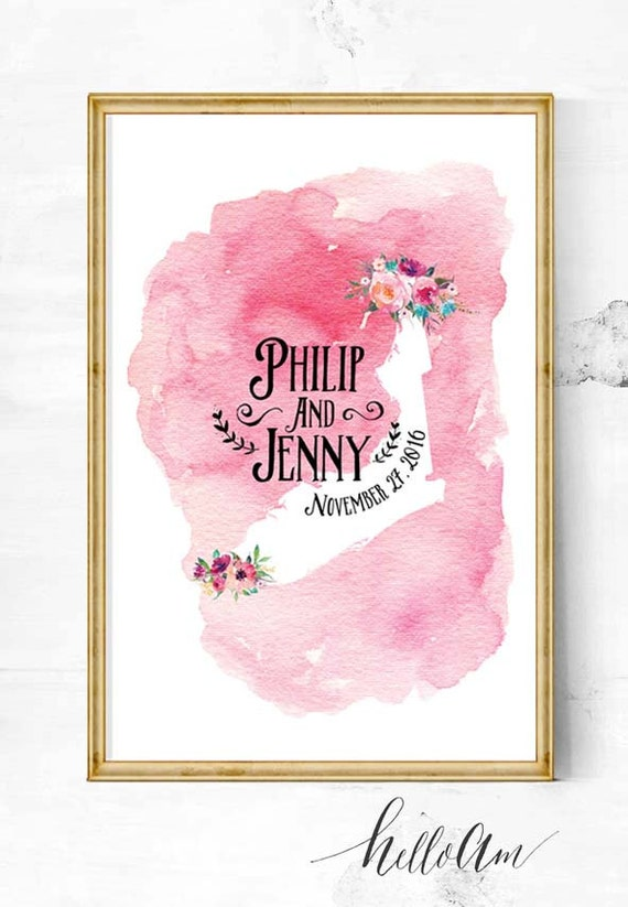 Alternative Gifts For Wedding Party : Wedding Guest Book Alternative - State wedding - wedding map - Gifts ...