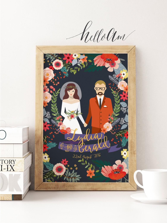 newlywed gift - newlyweds gift - newlywed - bridal shower gift - gift for couples - wedding gift - wedding gifts - couple portrait - wedding