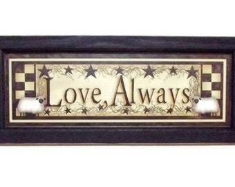 Love Always, Sheep, Checkerboard, Star, Art Print, Primitive Home Decor, Wall Hanging, Handmade, 20x8, Custom Wood Frame, Made in the USA