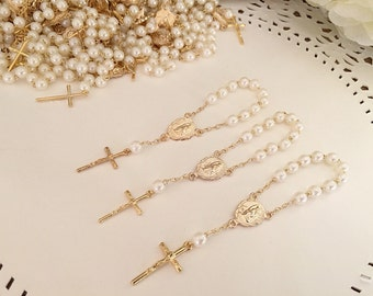 10 baptism favors acrylic pearls vintage gold /mini rosaries/ communion favors/ decenario / recuerdo  para bautizo/ christening favor