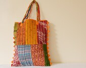 Quilted Vintage Kantha Tote with a long cross body strap