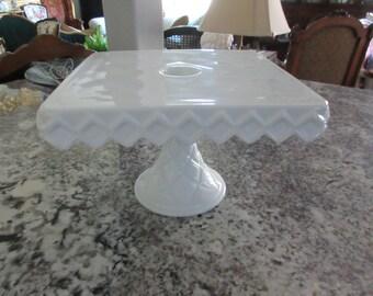 INDIANA WHITE MILK Glass Cake Stand
