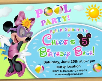 Minnie mouse POOL PARTY Invitation, Minnie mouse BIRTHDAY Invitation, Minnie mouse summer birthday invitation- Digital file