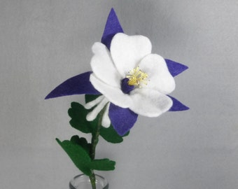 Purple Felt Columbine Made-To-Order- Artificial Flower- Felt Flower - Fake Flower - Colorado Columbine - Fake Columbine - Purple Flower