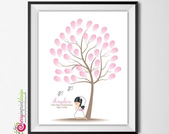 First Communion Fingerprint Signature Guest Book Tree - DIY Printable (Digital File)