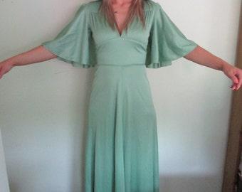Mr Darren 1970's maxi dress, angel sleeves, pale green