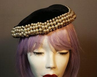 FREE  SHIPPING  1950 Velvet Pearl Hat