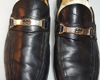 FREE  SHIPPING  1960's Men Gucci Leather Loafers