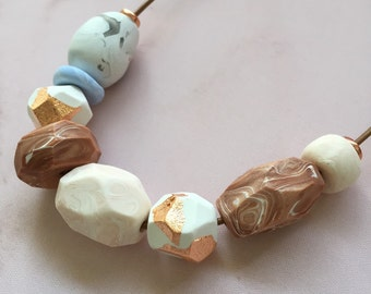 Polymer Clay necklace, Rock pool