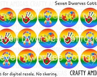 Rainbow Autism Awareness 4x6 one 1 inch bottle cap image, bci, digital collage sheet, rainbow puzzle piece