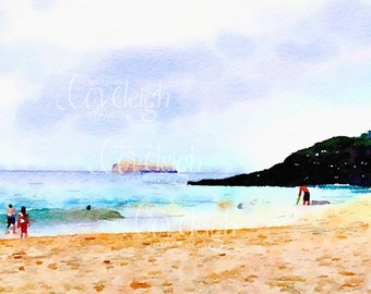 Watercolor Makena Beach and Molokini Maui Art Digital Photo