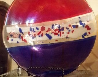 """Red, White, and Blue kiln cast glass vessel """"American Skyline"""""""