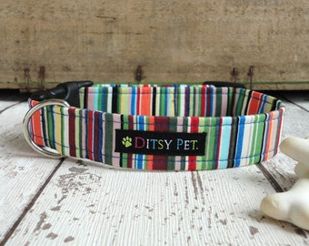 Joseph Striped Fabric Handmade Dog Collar