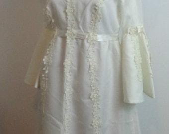 Vintage Wedding Dress 70s With  veil
