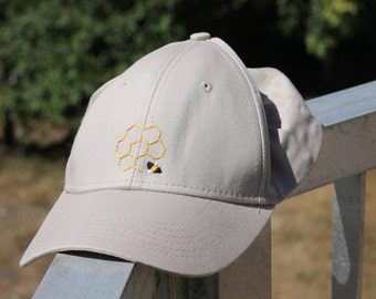Hand Embroidered Honeycomb Bee Baseball Cap