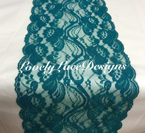 Teal Wedding Ideas For Reception: Teal/Green Lace Table Runner/7 Wide By LovelyLaceDesigns