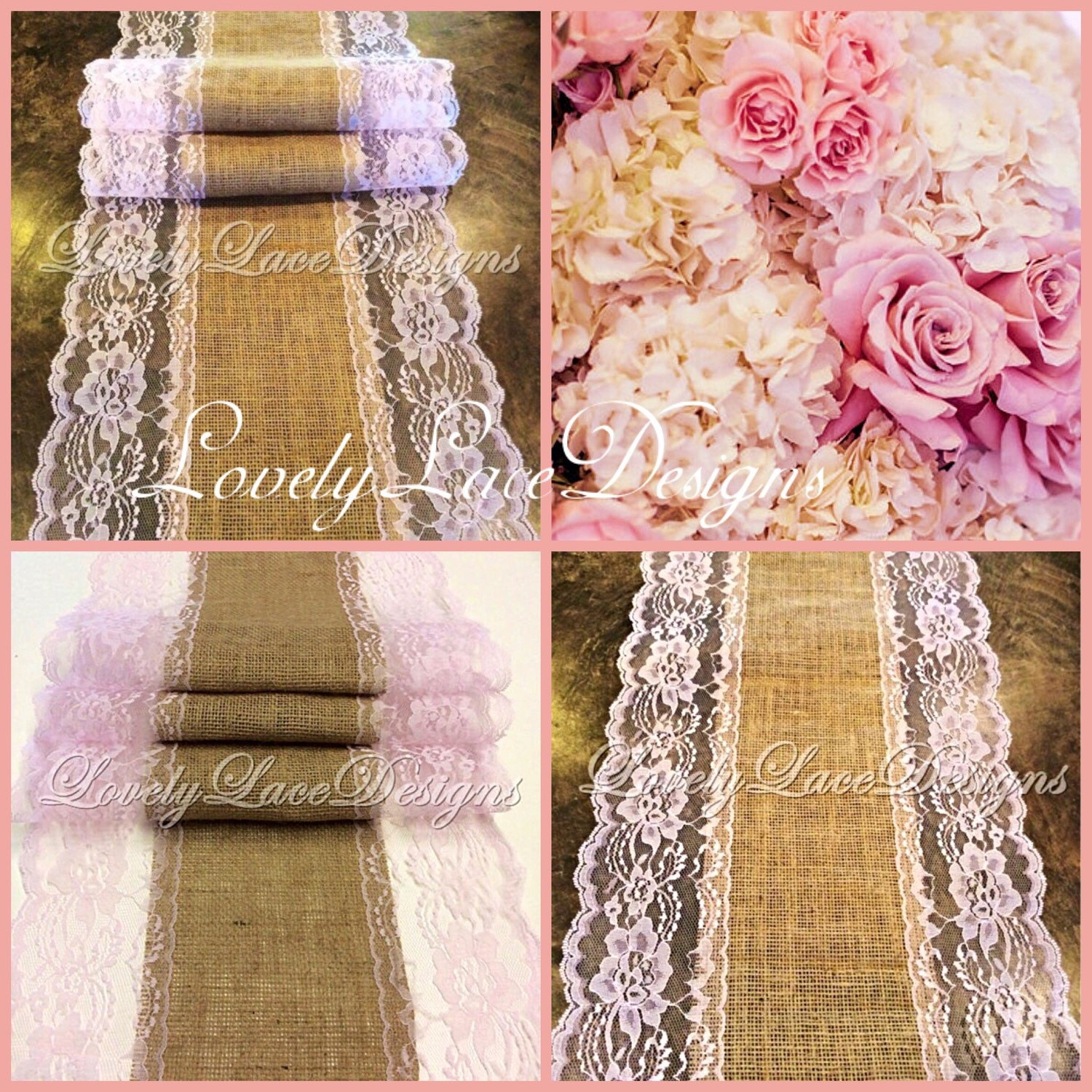 12ft 20ft burlap lace table runner blush by lovelylacedesigns for 12 foot table runner