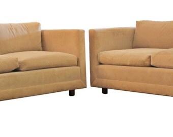 Mid Century Modern Pair of Sofas by Ward Bennett for Brickell Associates Knoll