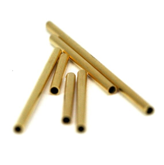 brass square tube 40 pcs  2 x 20 mm ( 1,6 mm hole) gold plated finding charm 1336G-20