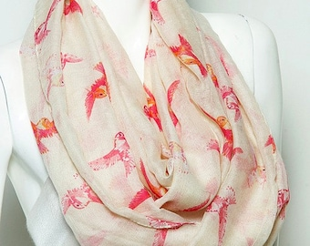 Pink and Coral Bird Infinity Scarf