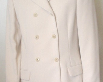 Vintage Harold Powell Beige Polyester Twill Double Breasted Lined Jacket Blazer Career Mix N Match 1980s Retro Chic EC BIN