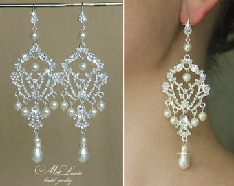 Bridal Earrings, Chandelier earrings for brides, Wedding Earrings, Long bridal Earrings, Large Earrings, Bridal jewelry earrings e11