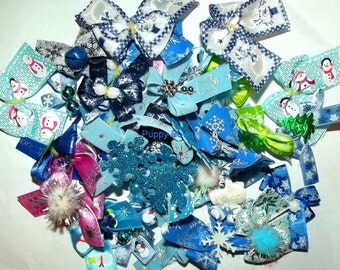 Puppy Bows ~Bow color HOLIDAY mixes 4th July Summer for dog grooming Yorkie Maltese Shih Tzu ~USA seller