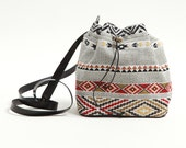 Small bucket bag with tribal pattern,fabric bag,upholstery bucket bag,ethnic,synthetic leather,boho bag,red and black,Navajo,bohemian bag