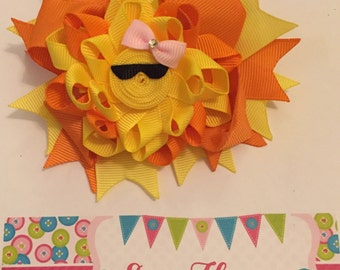 Yellow and Orange Sunshine 3-in-1 Ribbon Sculpture Over the Top Hair Bow