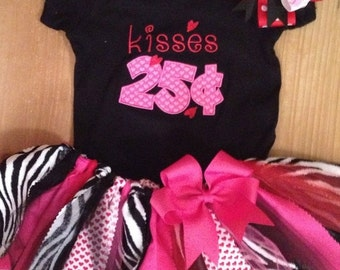 """ON SALE Valentine's Day """"Kisses 25 cents"""" Tutu Outfit"""