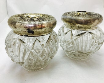 Vintage Art Nouveau Deep Cut Glass Matching Vanity Jar Set with Floral Repousse Silver Toned Lids