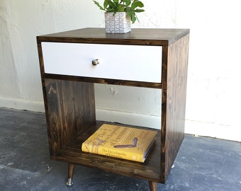 Mid century modern inspired nightstand with white drawer