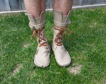 Adult Men's Moccasin boots Inca style shin high boots American aztec leather bison hide hippie larp festival