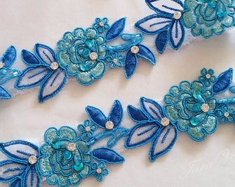 Wedding garter set,Turquoise Blue Garter,Rhinestone Turquoise blue, Turquoise Garter blue,Bridal garters,bridal garter,Floral lace garter
